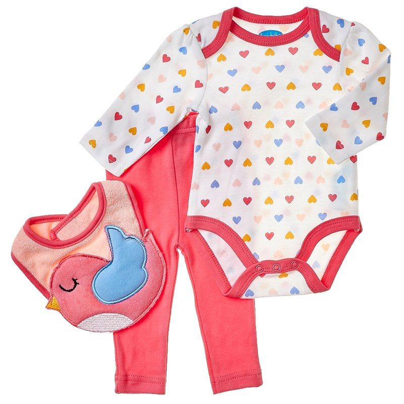 Heart Bodysuit with Leggings & Bird Bib