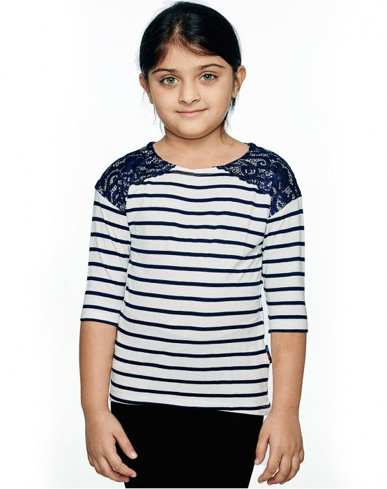 Ventra Girls Stripe Lace Top