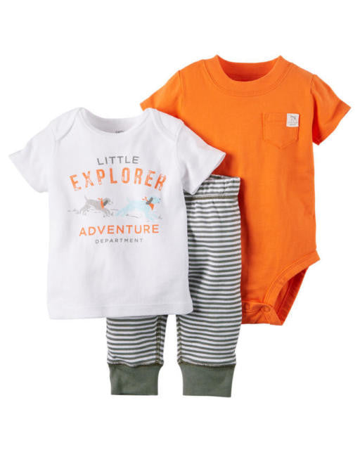 Carter's Baby Boys' 3-Piece Little Explorer Adventure Department Bodysuit