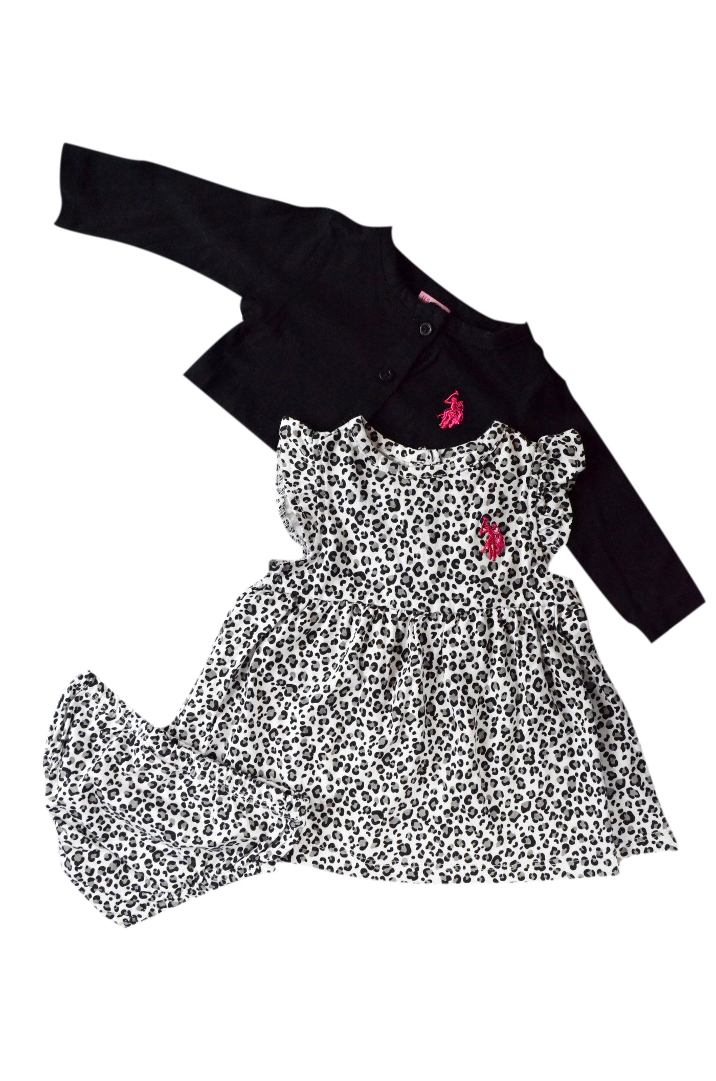 US Polo Baby Girls 3 Piece Leopard Print Dress Set – Munchkinz