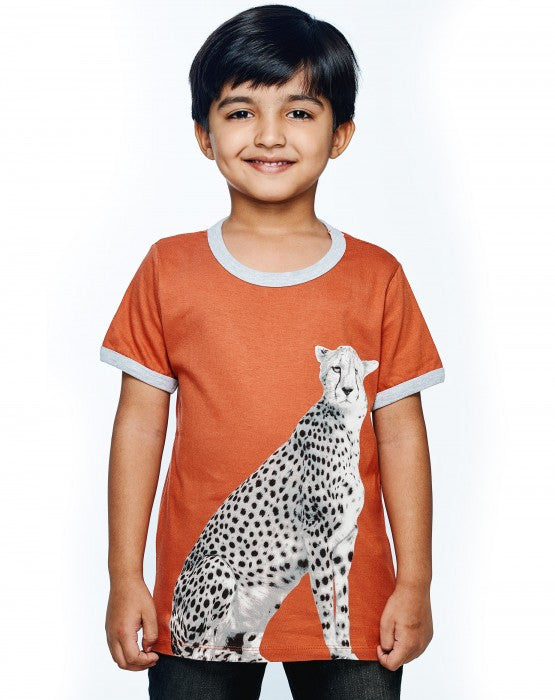 Ventra Boys Cheetah Printed T-shirt