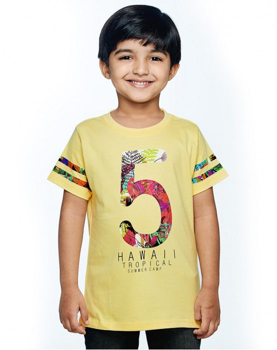 Ventra Boys Number 5 Hawaii Tropical Summer Camp Printed T-shirt