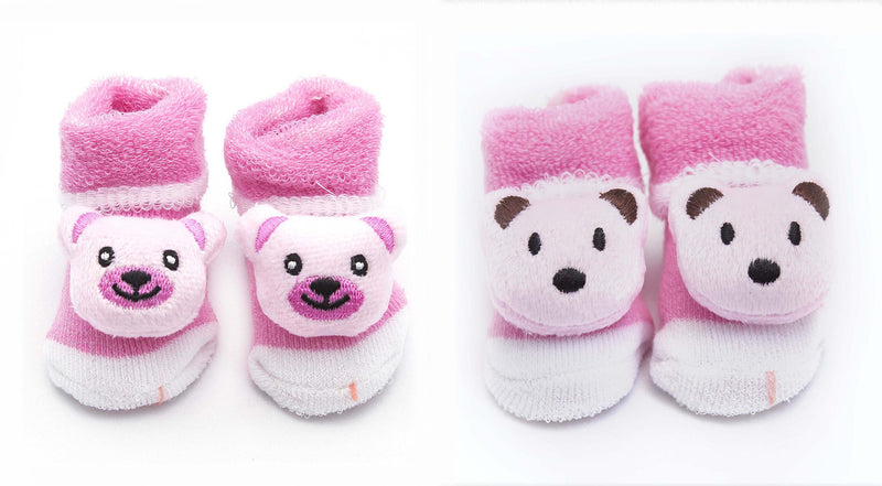 Zap Diaries 2 Pairs of Pink Baby Bear Socks