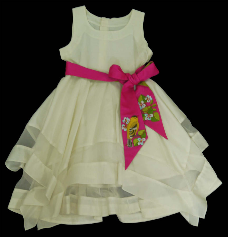 Ivory Colored Hanky Dress with Embroidered Belt from Nee & Oink