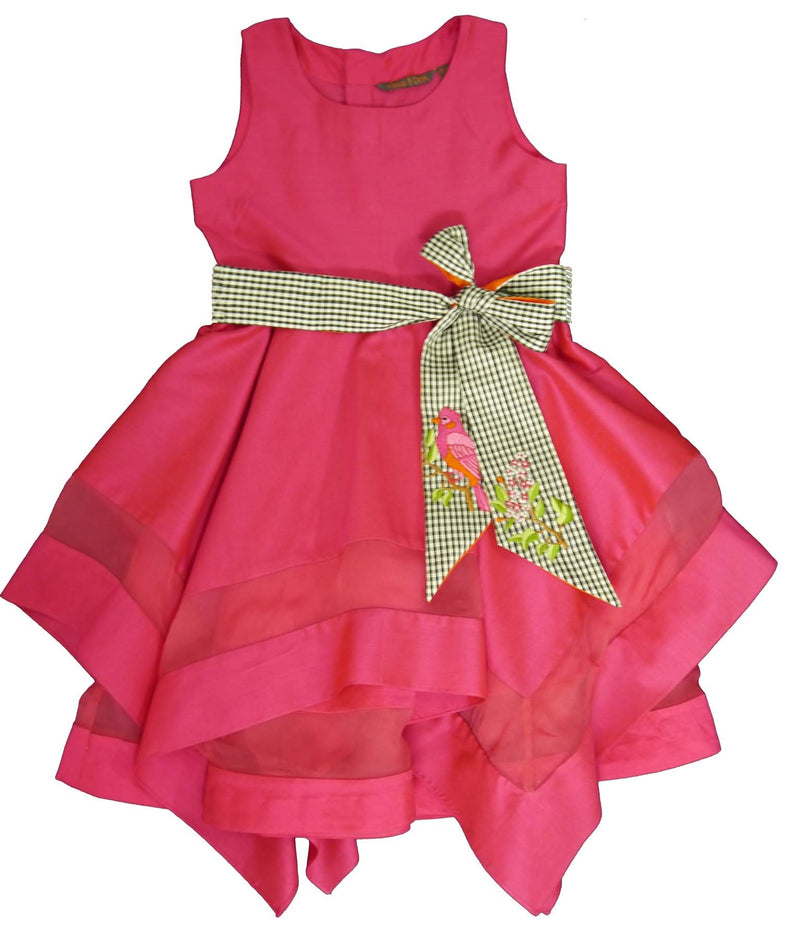 Fuchsia Colored Hanky Dress with Embroidered Belt from Nee & Oink