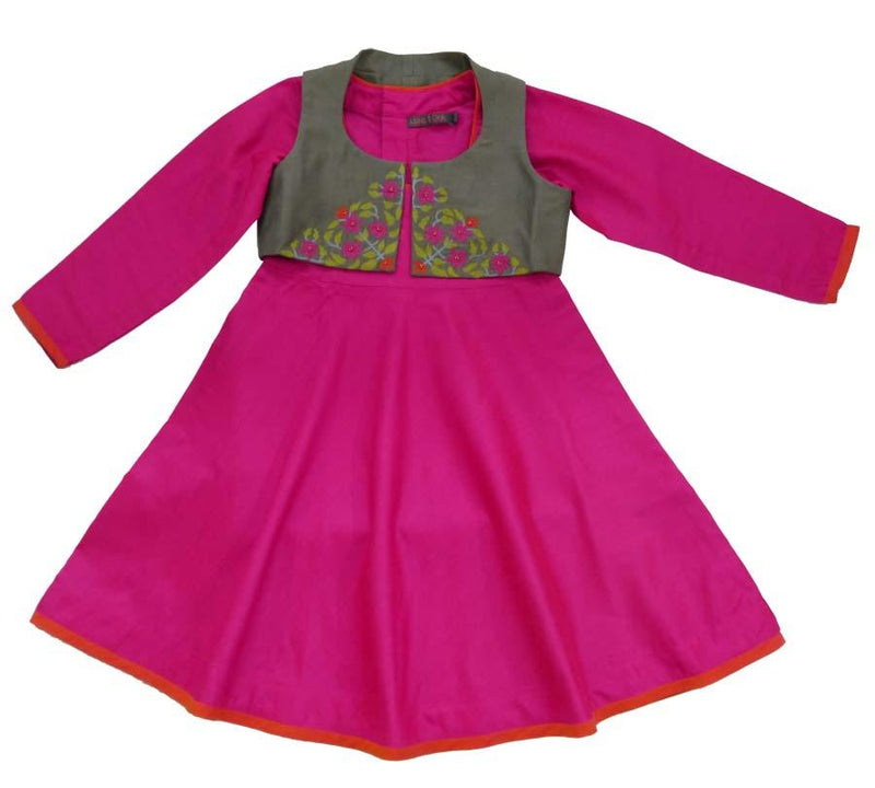 Fuchsia Anarkali Set with Grey Short Jacket from Nee & Oink