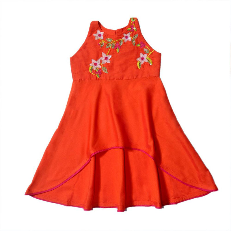 Flame Orange Asymmetrical Anarkali Sequin Floral from Nee & Oink