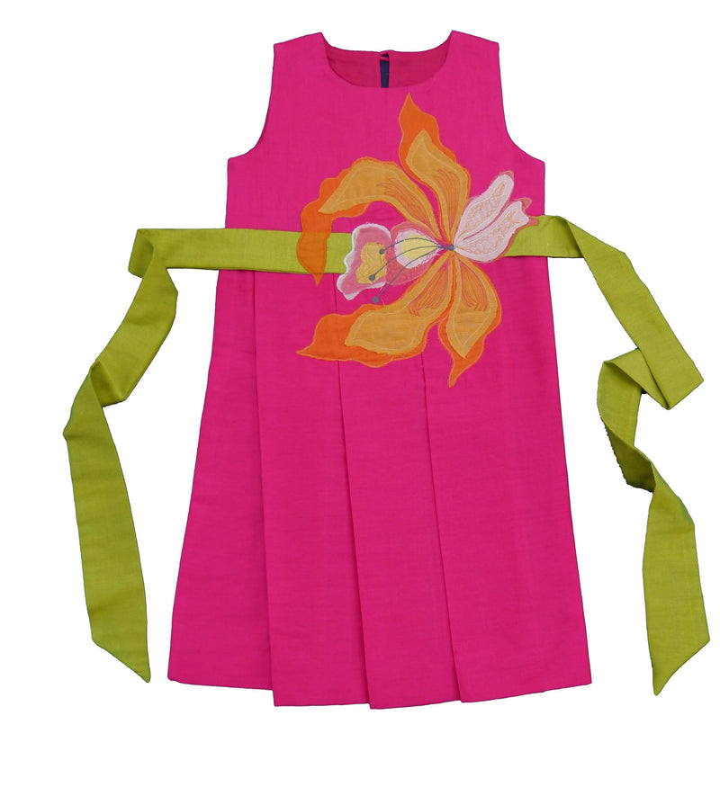Pink Flower Applique Dress from Nee & Oink