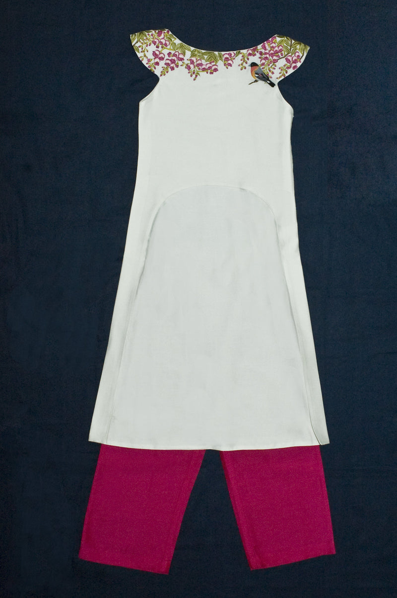Ivory High Low Tunic with Straight Pants from Nee & Oink