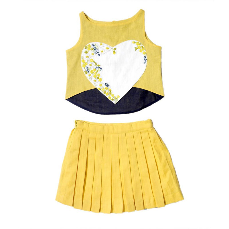 Yellow Heart Crop Top with Pleated Skirt from Nee & Oink