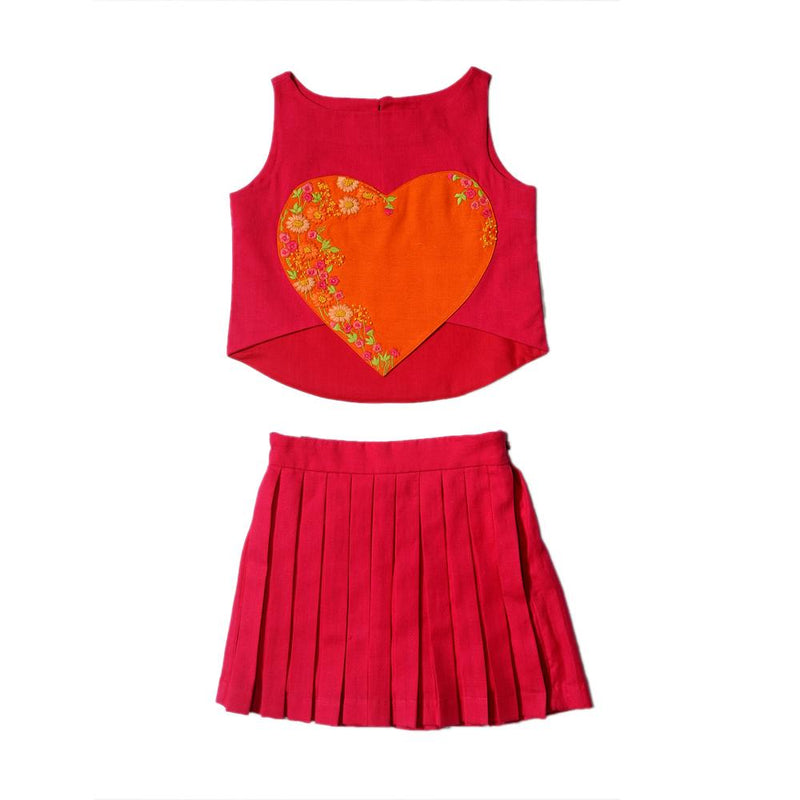 Red Heart Crop Top with Pleated Skirt from Nee & Oink