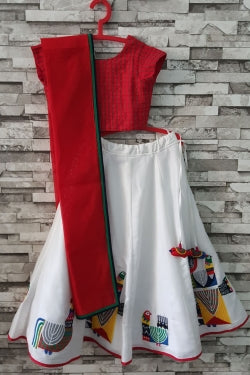 White Tribal Tales Lehenga with Embroidered Choli from Nee & Oink