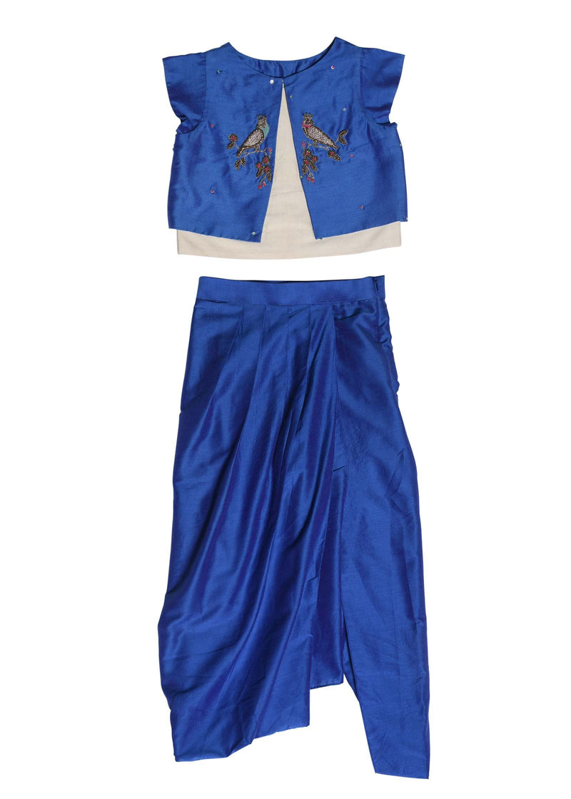 Blue Zardozi Tia Jacket Top With Dhoti Pant from Nee & Oink