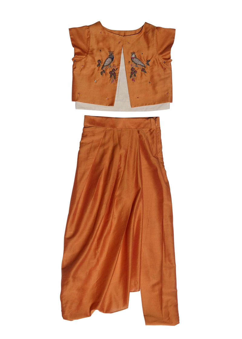 Orange Zardozi Tia Jacket Top With Dhoti Pant from Nee & Oink