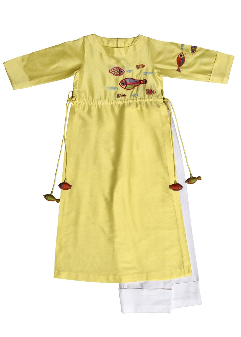 Lemon Yellow Multi Fish Tunic With Straight Pants from Nee & Oink