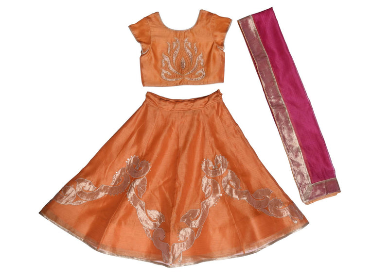 Orange Inlay Applique Lehenga from Nee & Oink