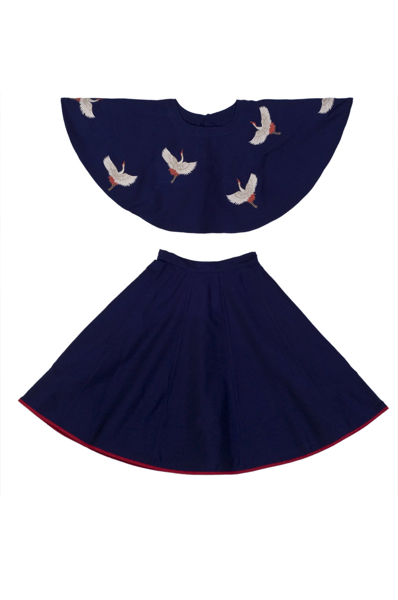 Navy Crane Top With Skirt from Nee & Oink
