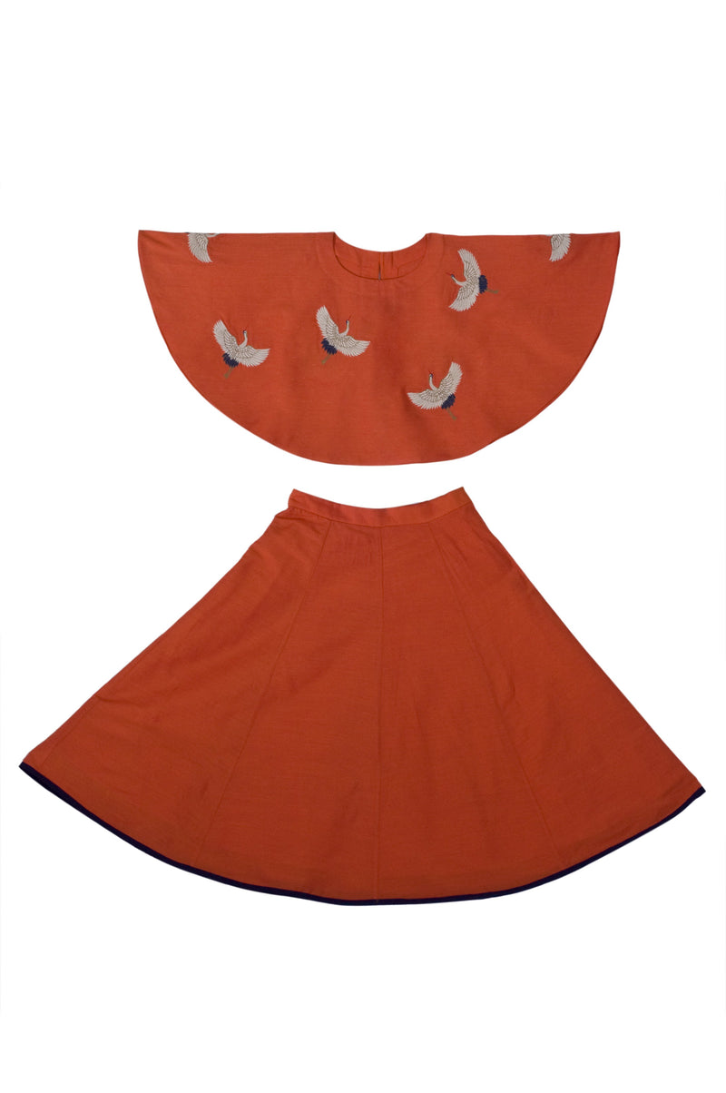 Orange Crane Top With Skirt from Nee & Oink