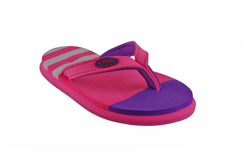 Beanz Regina Baby Pink and Purple Flip Flops