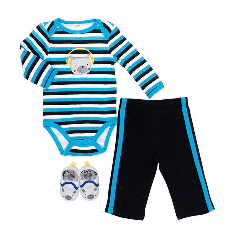 Baby Gear Baby-Boys Newborn 3 Piece Bear Set, Blue, 3-6 Months