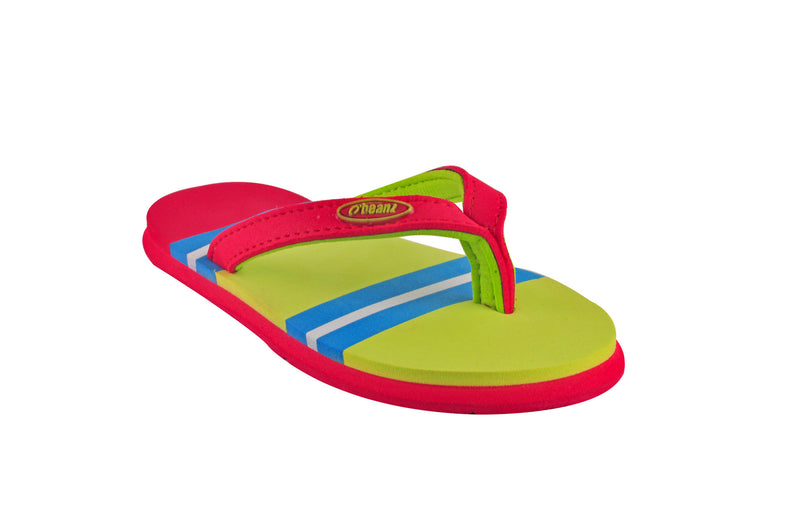 Beanz Regina Radar Yellow and Red Flip Flops