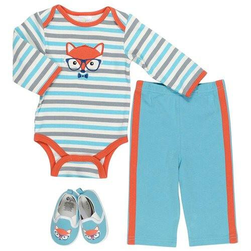 Baby Gear Baby Boys Stripe Fox Bodysuit Set