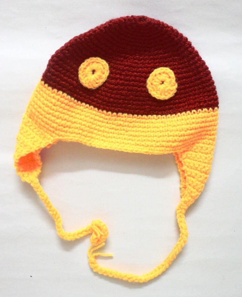 Nappy Monster Yellow and Red Cap with Eyes