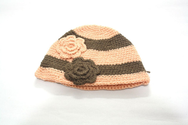 Nappy Monster Beige Cap with Green lines and Flower