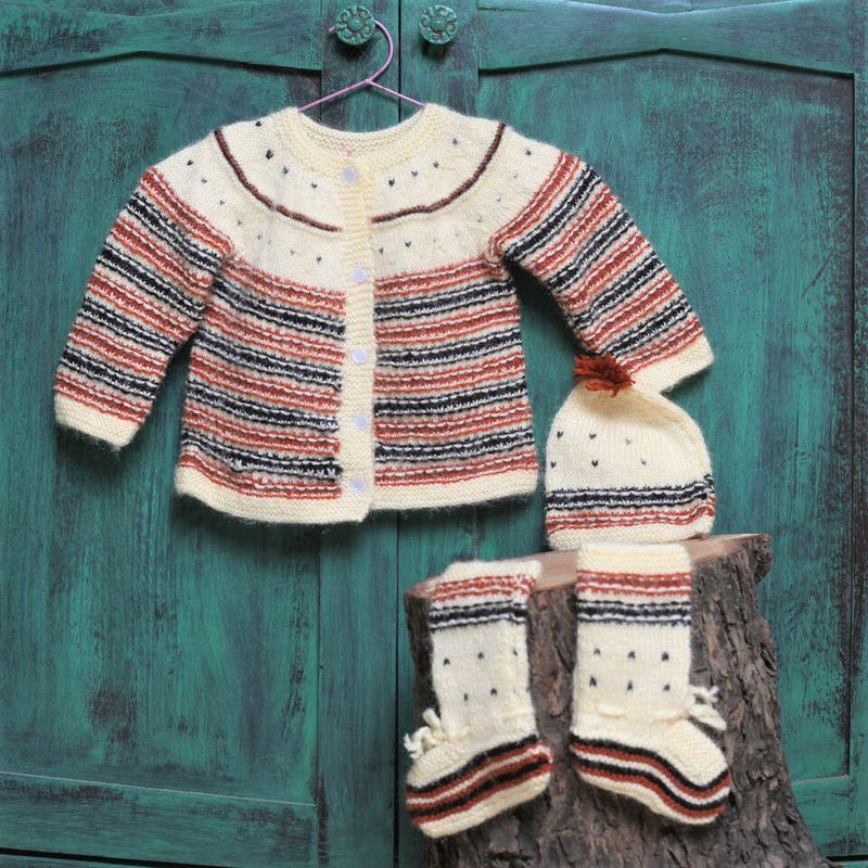 Nappy Monster Brown and off white Knit Sweater Set with Cap and Booties