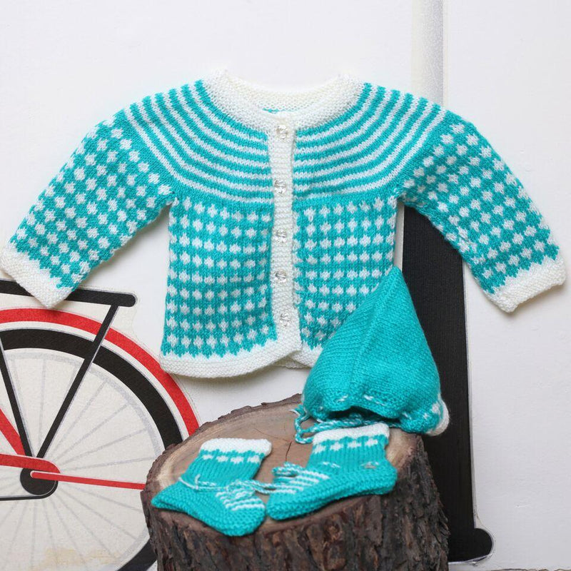 Nappy Monster Knit Sweater Set with Cap and Booties - Blue and white
