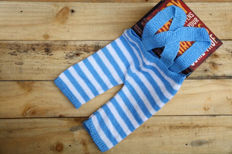 Nappy Monster Pants with Suspenders, Blue and white