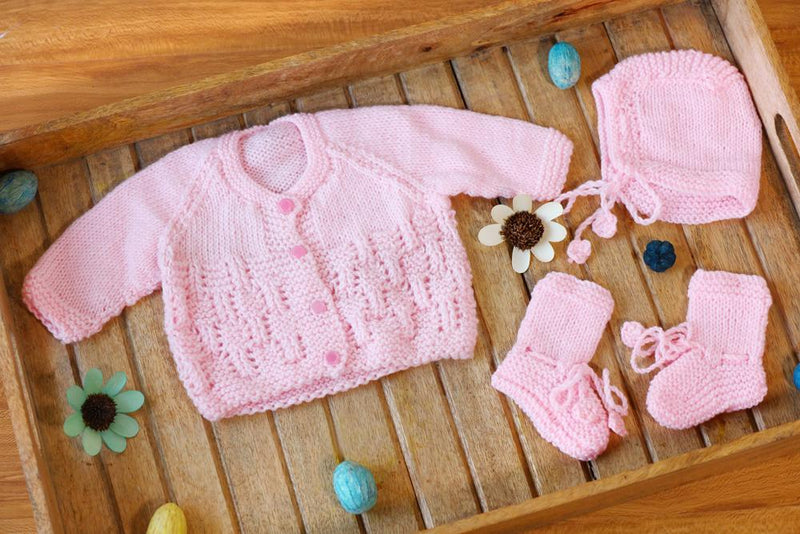 Nappy Monster Knit Sweater Set, Plain Top with Cap and Booties - Pink