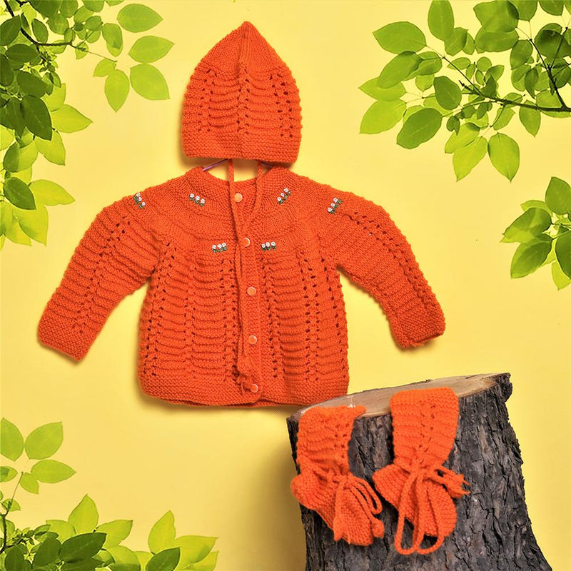 Nappy Monster Sweater Set with flower embroider, Orange