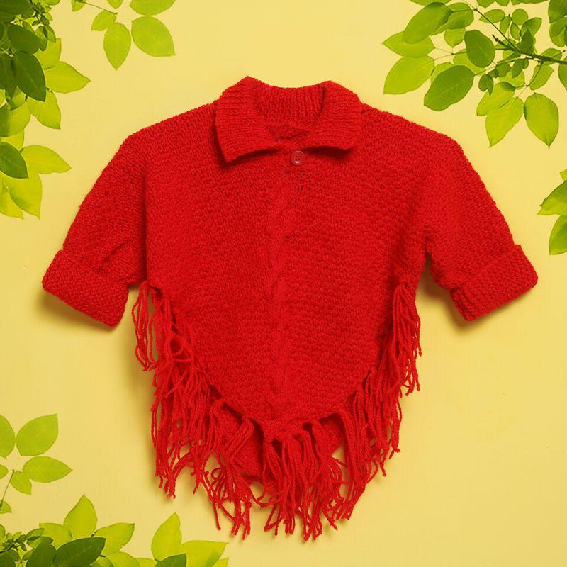 Nappy Monster Red Poncho Top with collar