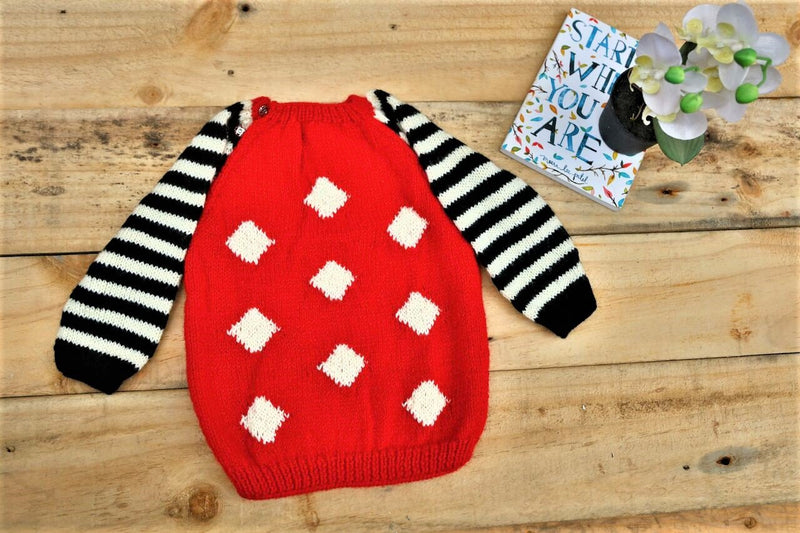 Nappy Monster Red sweater with Stripped Sleeves