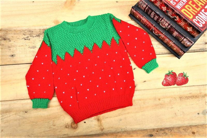 Nappy Monster Knit Strawberry Pattern Sweater
