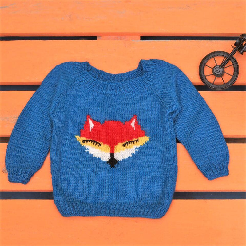 Nappy Monster Blue Knit Sweater with Fox Face