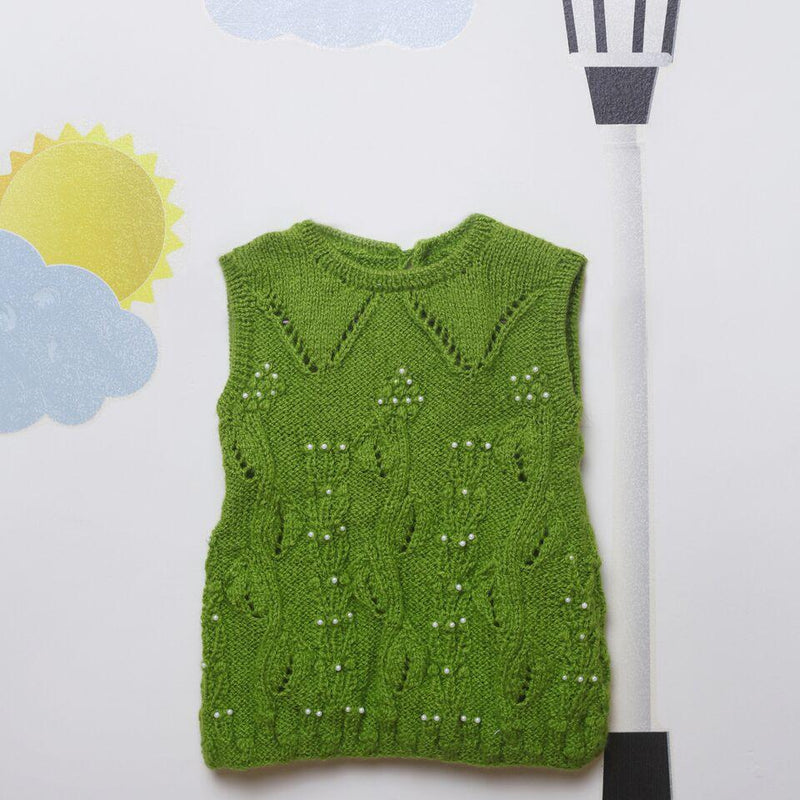 Nappy Monster Green Frock with Pearls
