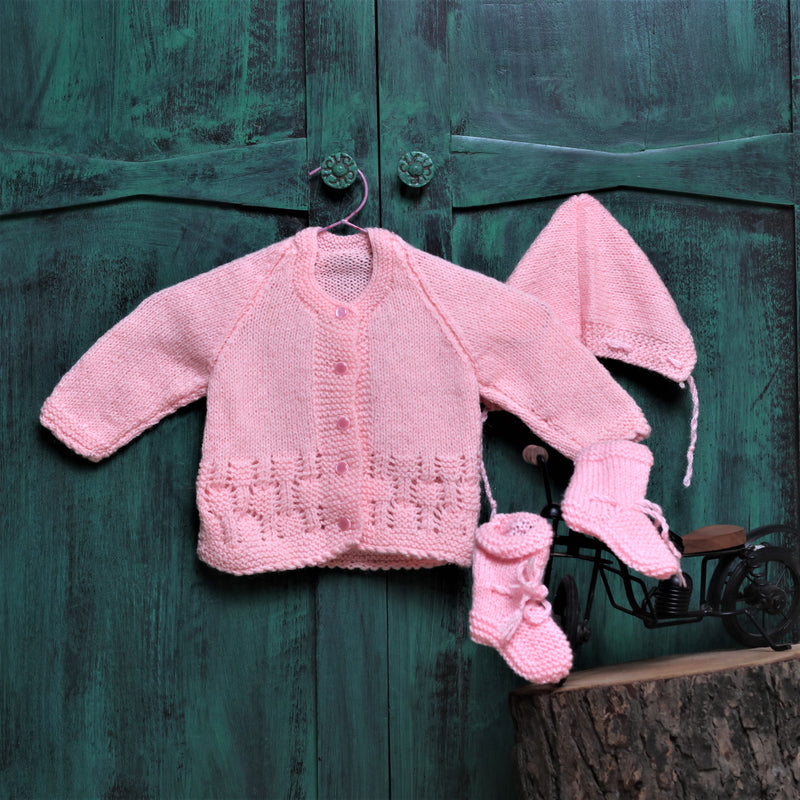 Nappy Monster Knit Sweater Set with Cap and Booties - Pink