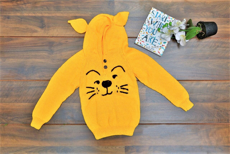 Nappy Monster Tiger Face Embroidered Hooded Sweater