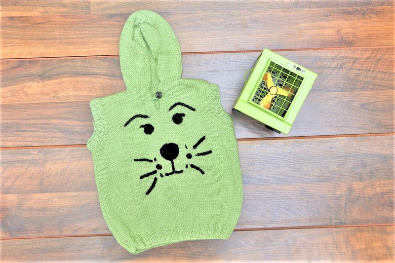 Nappy Monster Pista Green Hooded Sleeveless Sweater