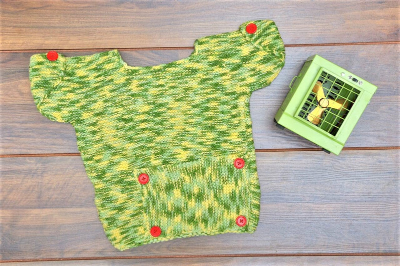 Nappy Monster Knit multicolored green sweater with Big pocket, Multi , 1-2Years