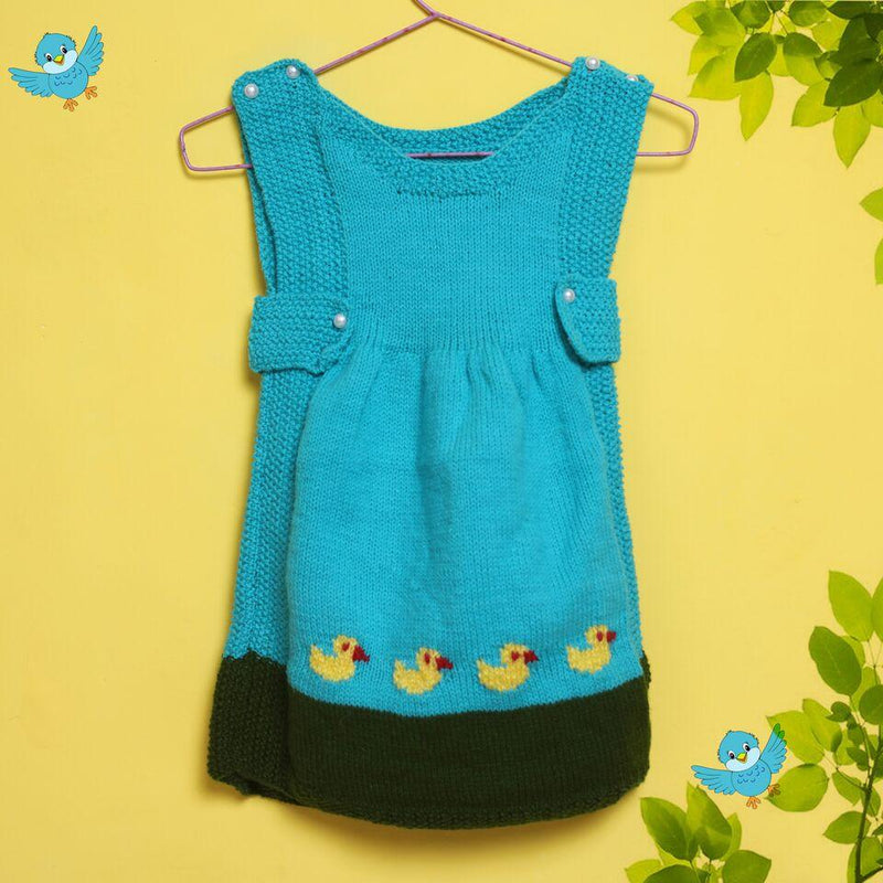 Nappy Monster Knit Flayered Frock with Duck - Green and Blue