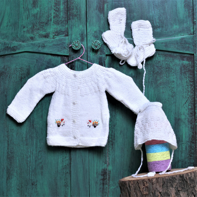 Nappy Monster Duck Embroidered Knit Sweater Set - White