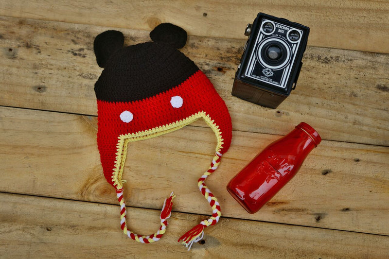 Nappy Monster Red and Black Cartoon Cap with Ear