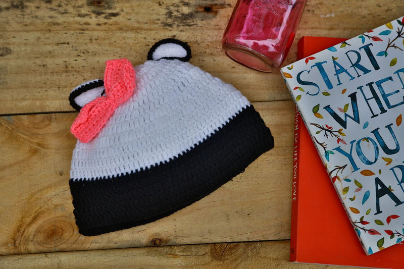 Nappy Monster Panda Cap with Pink Bow