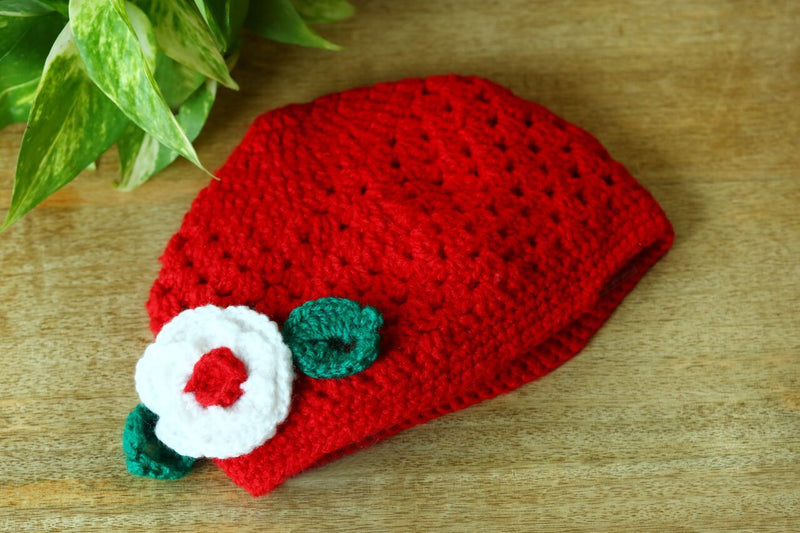 Nappy Monster Red Cap with Flowers