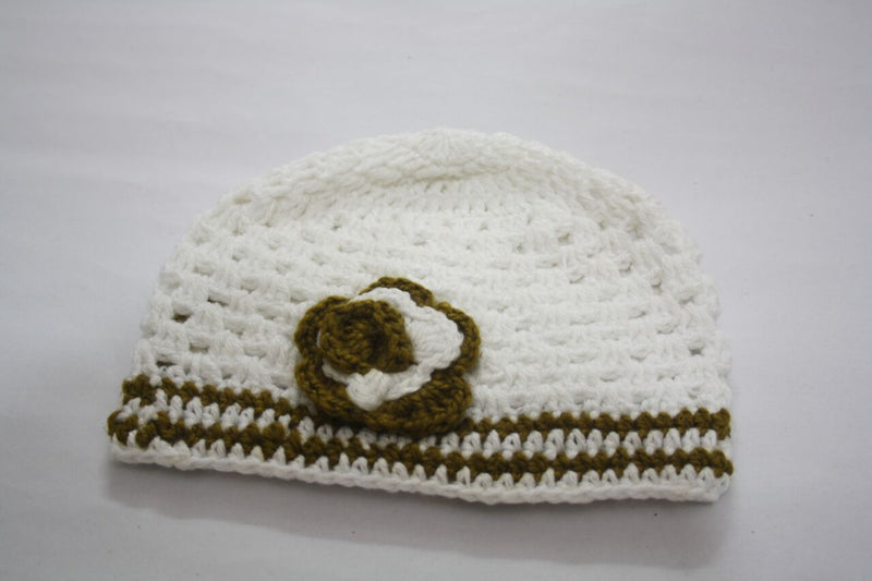 Nappy Monster White Cap with Green Lines and Flower