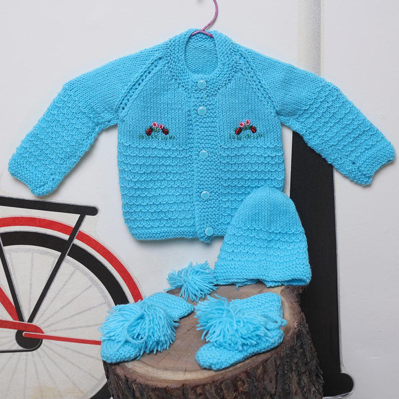 Nappy Monster Blue Flower Embroidered Knit Sweater Set
