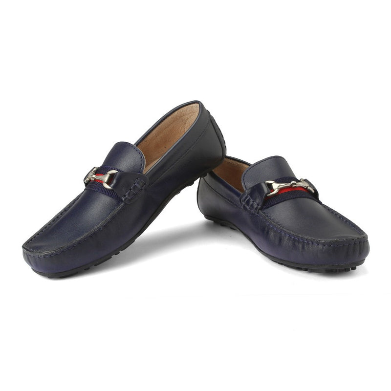 Careeno Callisto Boys' Blue Leather Loafers